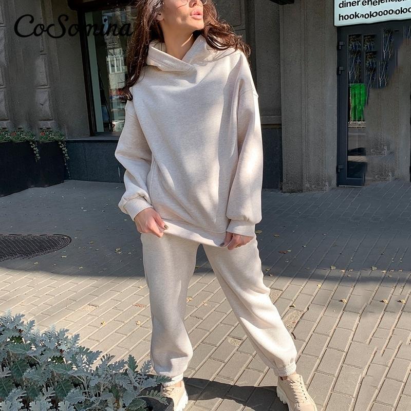 Cosomina Outono Hoodie Mulheres Two-Piece Sets Sólida Velo Sportswear Inverno Quente Com Capuz Pulôver Calças Movimentadoras Terno 201199