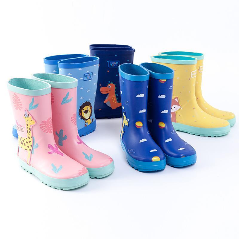 Ulknn Çocuklar için Rahat Rainboot Erkek Kız Yeni Çizmeler Su Geçirmez Çocuklar Yağmur Kauçuk Su Ayakkabı