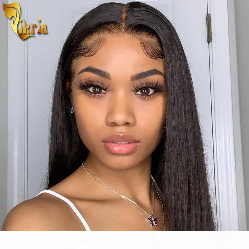 Parrucca anteriore del pizzo rettilineo seta 13x4 parrucca piena pizzo parrucca di capelli umani colore naturale precipitato con capelli con capelli del bambino 130% ~ 150% densità per le donne