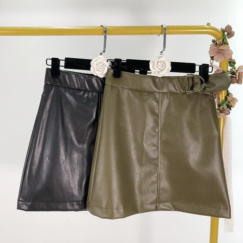2020 весна новая высокая талия для похудения пряжка PU кожи слова короткая юбка женщина1