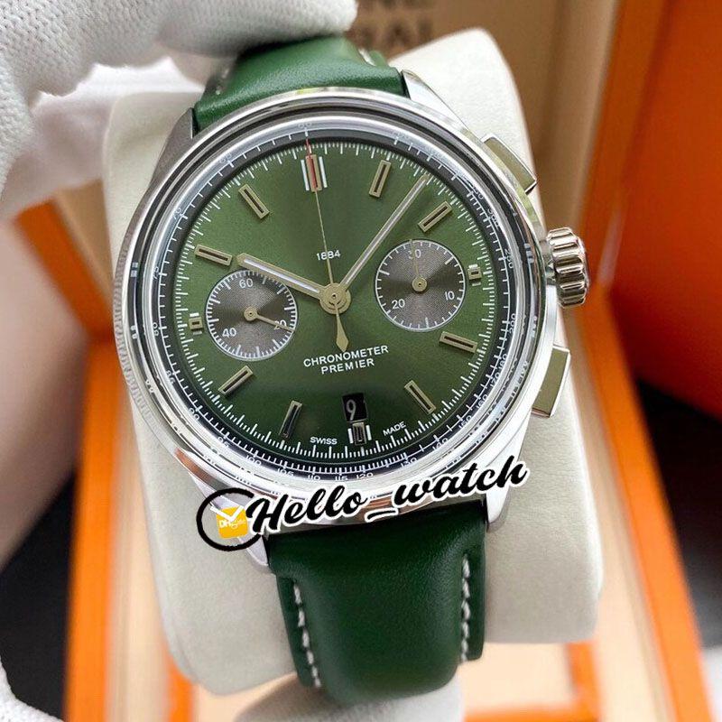 TWF V8 Nuevo Premier B01 Caja de acero AB0118A11L1X1 Asiática 7750 Cronógrafo automático Reloj para hombre Dial Verde Relojes de cuero Verde Hello_Watch E