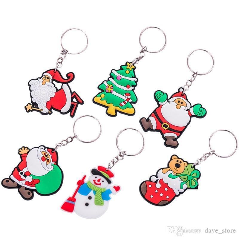 6 Colors Christmas keychain Men Women Pendant Couple Key Ring Ornaments key chain Christmas Xmas Gift Giveaway