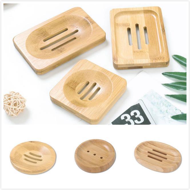 6 estilos Platos de jabón de bambú natural Titular de la bandeja PANTENERA DE ALMACENAMIENTO PLACA DE PAZA PUBLIÓN PORTEPORTE CABATORIO PUERTARIO DE ALMACENAMIENTO DE ALMACENAMIENTO