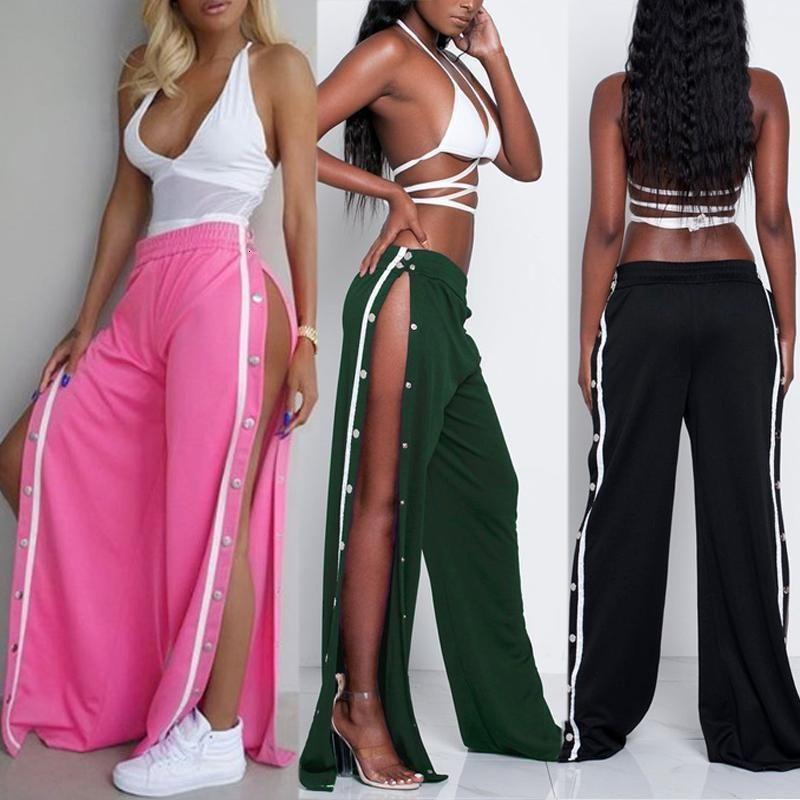 Moda Mujeres sueltas Stretch Jag Remache High Cintura ancha Pantalones Pantalones Pantalones Abrir Largos Multicolor Plus Size Pantalon Leggings NUEVO