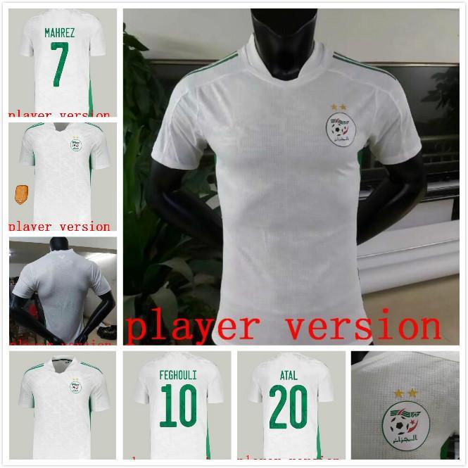 Personalizado 20-21 Argélia 7 Mahrez 10 Feghouli 13 Slimani 8 Belaili 20 Atal Thai Qualidade Futebol Camisas Camisas Desgaste Treinamento Barato