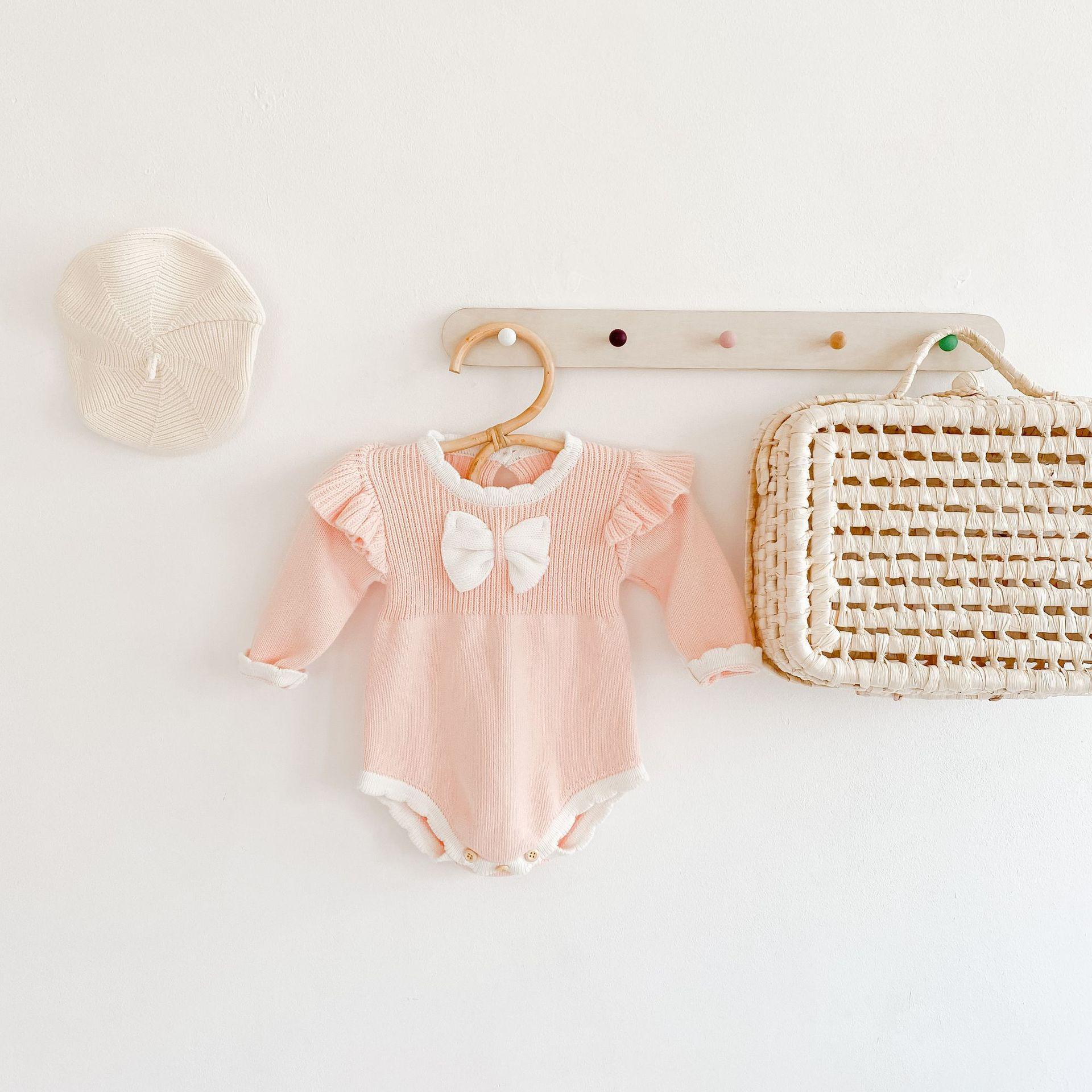 2021 INS Bebé Niños Escalada de punto Momber de manga larga Cuello redondo Bow Momber 100% algodón niña Lolita Mampers 0-2T