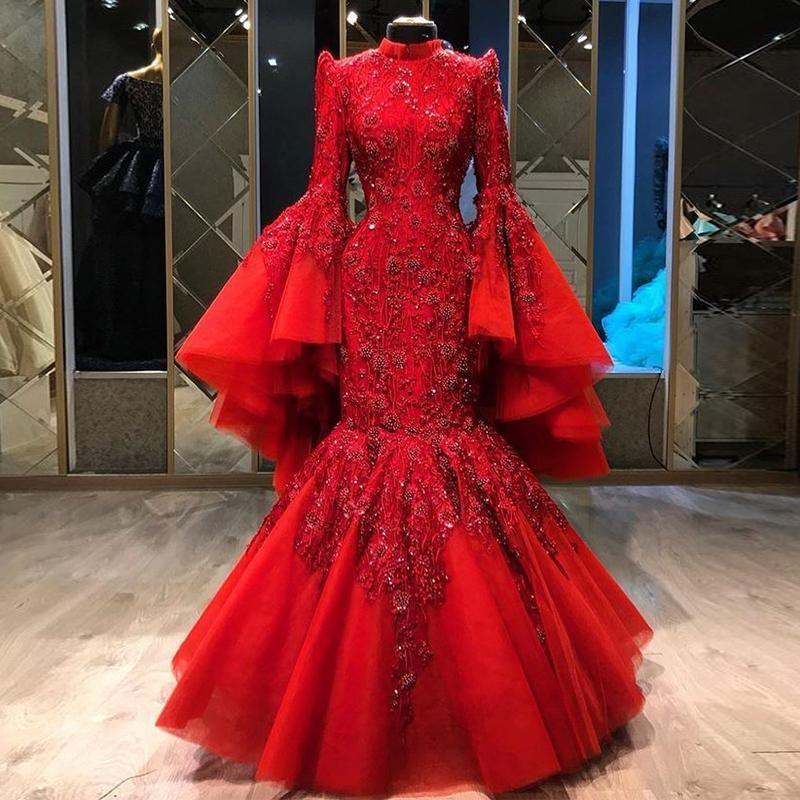 Kırmızı Mermaid Müslüman Abiye Yüksek Boyun Dantel Aplikler Sequins Tam Kollu Boncuk Örgün Balo Elbise Artı Boyutu
