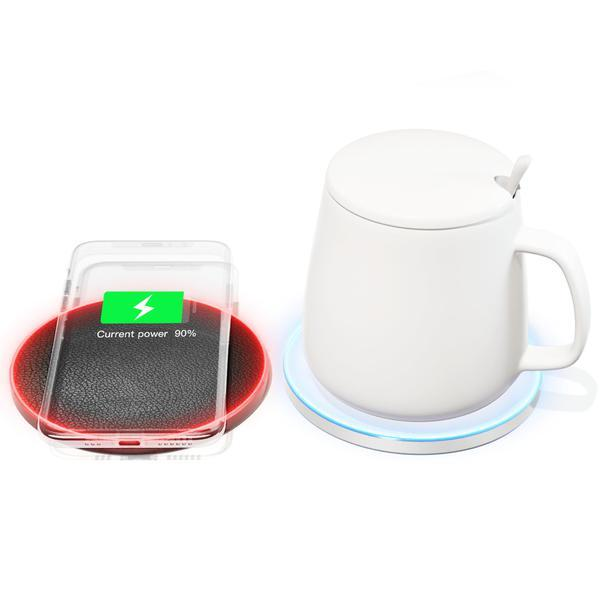JAKCOM HC2S Wireless Heating Cup Set new product cellphone wireless charging and keep warm 2in1 QC30 18w QI wireless fast charger mug cup