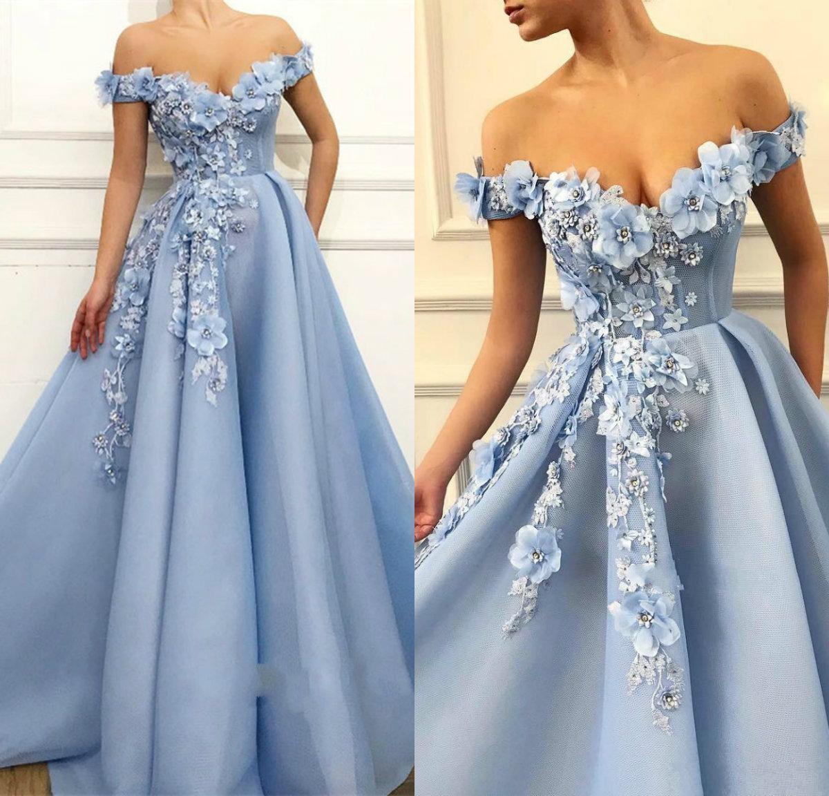 Elegant av axel ljus himmel blå kväll klänningar sexig backless 2021 pärlor 3d blommor golv längd formell fest prom klänningar