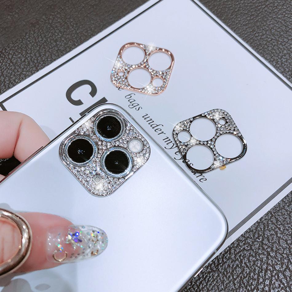 IPhone 12 Pro Kamera Lens Koruyucu Kapak Glitter Telefon için iphone 11 12 Pro Max Metal Çerçeve Elmas Gliter Koruyucular