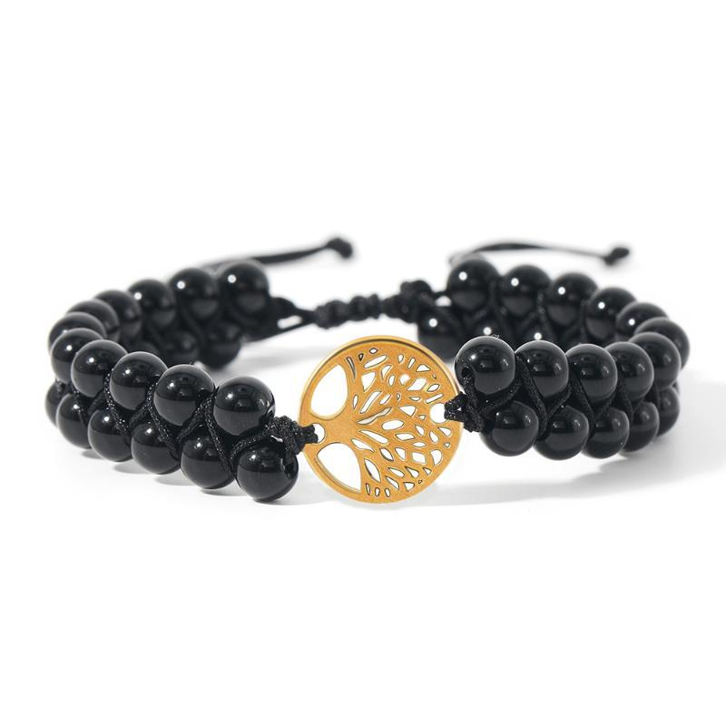 6MM Black Onyx Tree of Life Charm Hand-Woven Bracelet Yoga Energy Lucky Bangle Men and Women Fashion Jewelry