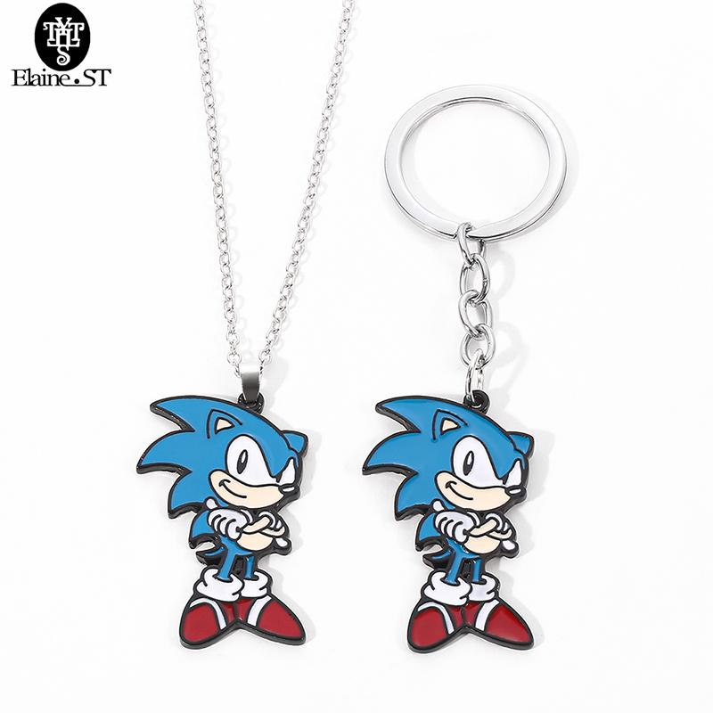 Atacado Sonic The Hedgehog Colar Dos Desenhos Animados Anime Enamel Metal Charme Keyring Bruxado Charme Colar Presentes Frete Grátis J1218