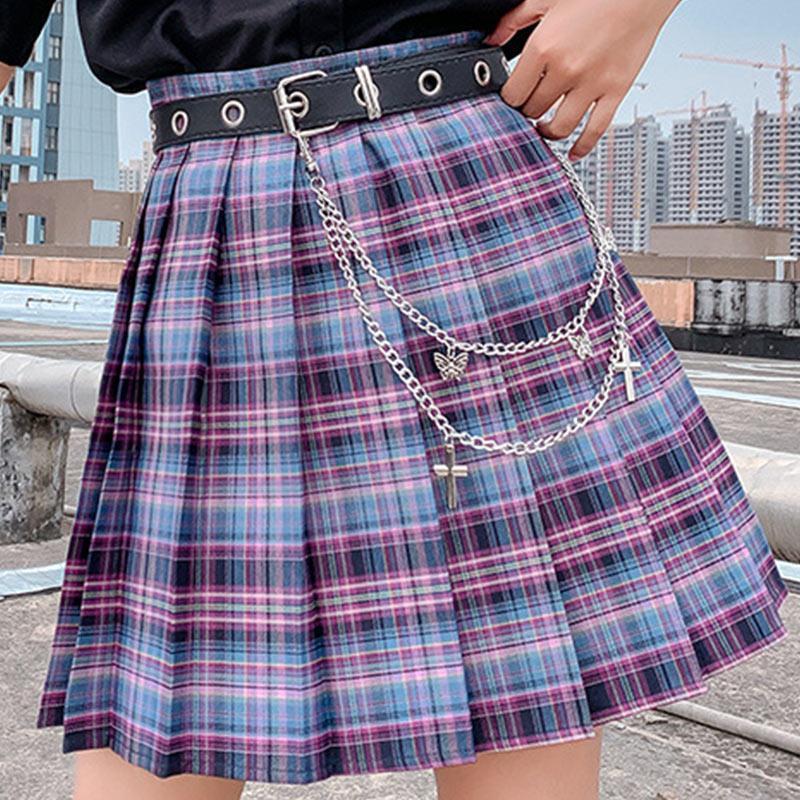 Юбки плед плиссированные женские мини юбки с высокой талией A-Line сладкий Япония корейский для девочек 2021 летний JK Preppy стиль женское дно