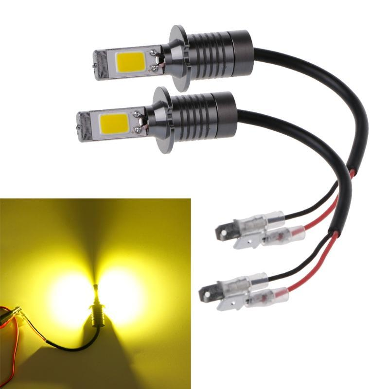 HNGCHOIGE 2x H3 80W Strobe Flash Lampadine LED Bulbs Car Nebbia Driving Light Lampada Giallo Amber 3000K -M20