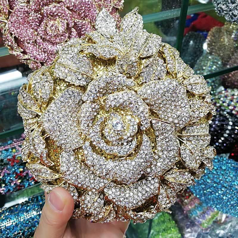 Os mais recentes Designer Flor Forma partido banquete Bolsa Mulheres Rhinestone Evening Cadeia casamento Clutch Bag Wristlets SC628 Q1116