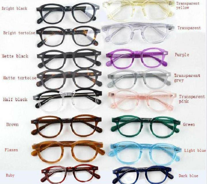 New top quality glasses 15color frame johnny depp glasses myopia eyeglasses lemtosh men women myopia Arrow Rivet S M L size with case