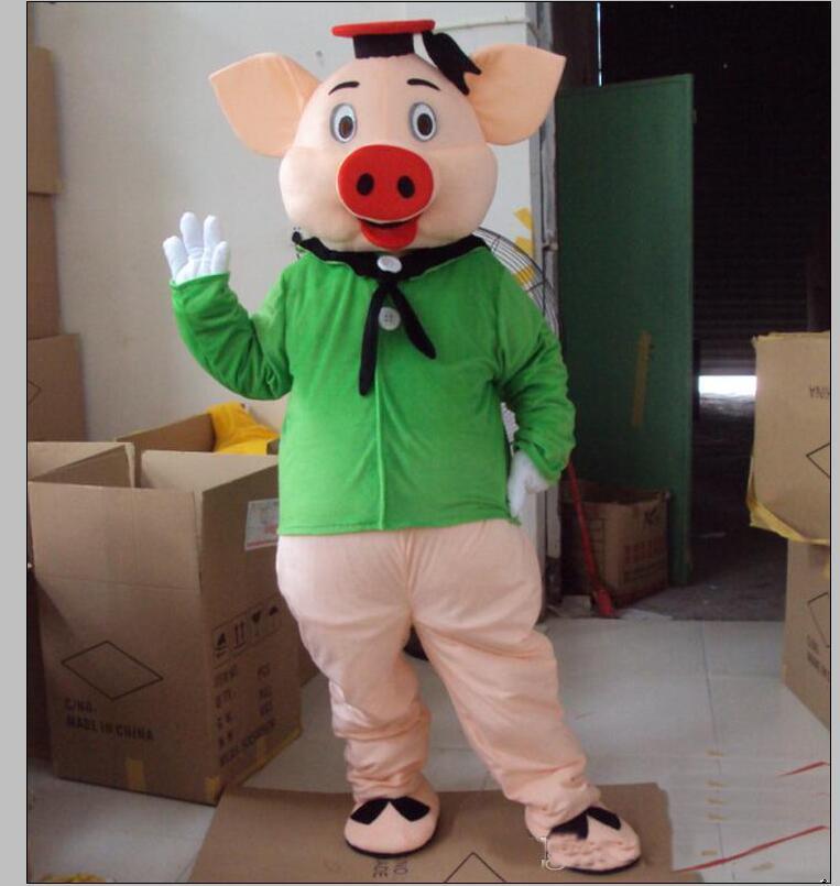 2019 Fabrika doğrudan satış EVA Malzeme Kask Yeşil elbise domuz Maskot Kostüm Karikatür Giyim Doğum günü partisi Masquerade