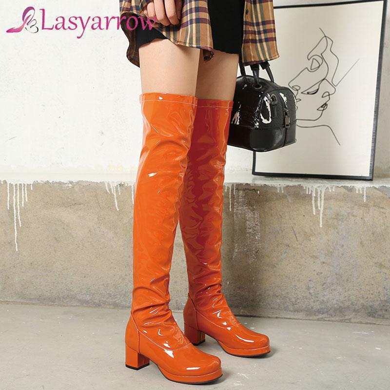 Lasyarrow Style Party Style comodo Tondo Tondo Pittura Stivali da ginocchio Plated Plated Plated Head Middle Chunky stivali da equitazione da donna Scarpe da donna1