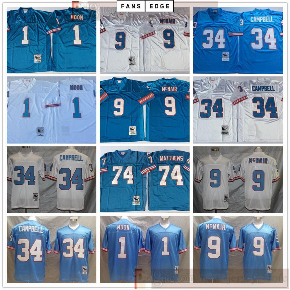 NCAA Football Retro Vintage 9 Steve McNair Jersey genäht 34 Earl Campbell 1 Warren Moon 74 Bruce Matthews Trikots Männer Blau Weiß