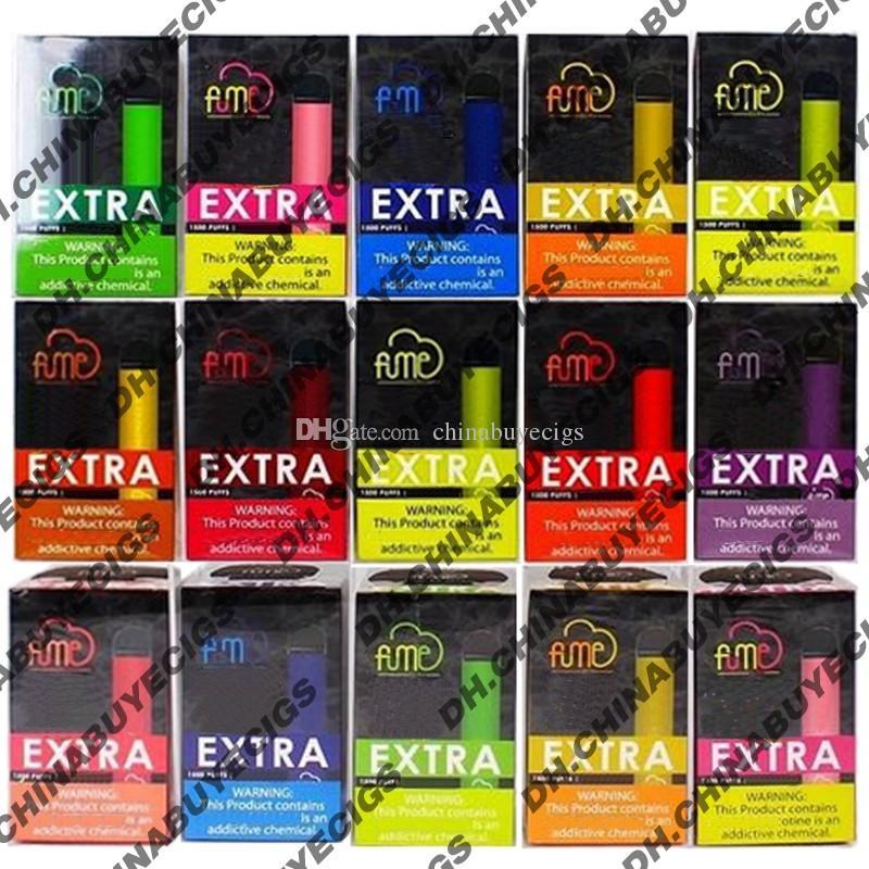 Newest Fume Extra 1500 Puffs Desechable Vape Pen Kit de bolígrafo 850mAh Batería Pre-llenado de 5 ml Cartuchos de Vapor Dispositivo de vapor E CIGS Vaporizador Kit de inicio