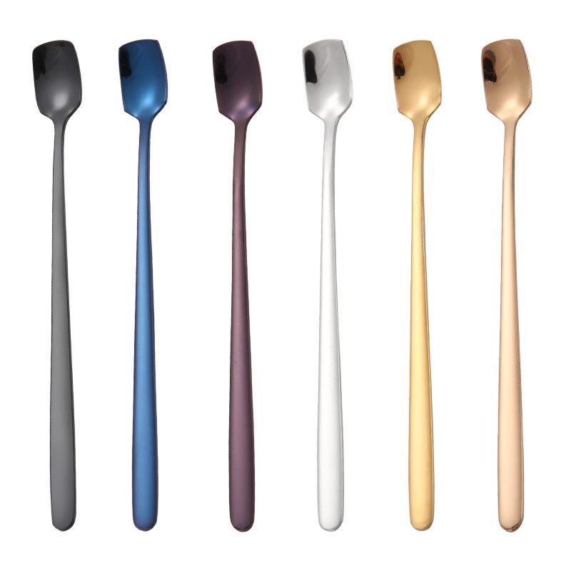 Paslanmaz Çelik Uzun Sap Kepçe Renkli Kare Kafa Kaşık Çay Fincanı Kahve Dondurma Sofra Karıştırma Kepçe Sıcak Satış 2 8XH G2