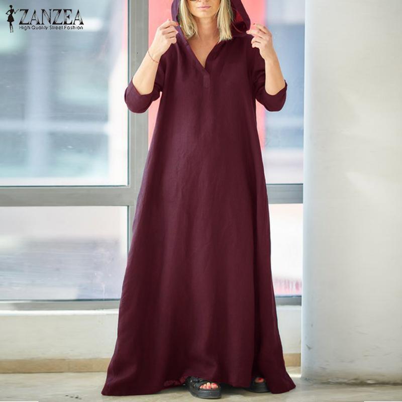 2020 Zanzea Женщины Sundress Плюс Размер с капюшоном Maxi Старинные Хлопковые льняные Платье Женские Повседневные Vestidos С Длинным Рукавом Робин 5XL
