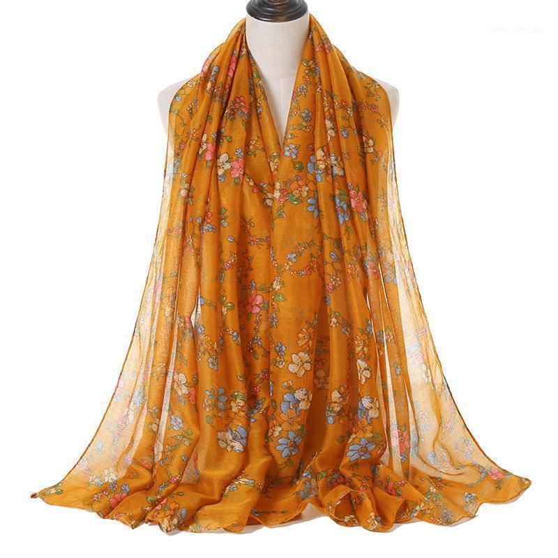 2020 Frauen Herbstgold Retro Floral Viskose Schal Schal Hohe Qualität Print Wrap Snood Bufandas Muslim Hijab 180 * 90 cm1