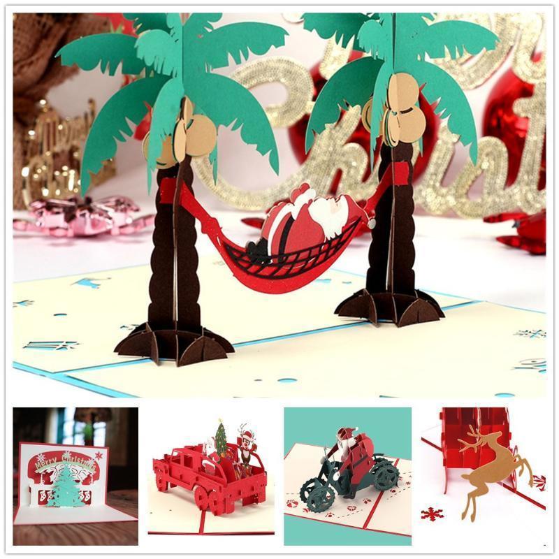 Stereo 3D Tema Saluto del Babbo Natale Carta Busta taglio del laser compleanno cartolina di Natale decorazione # YL10