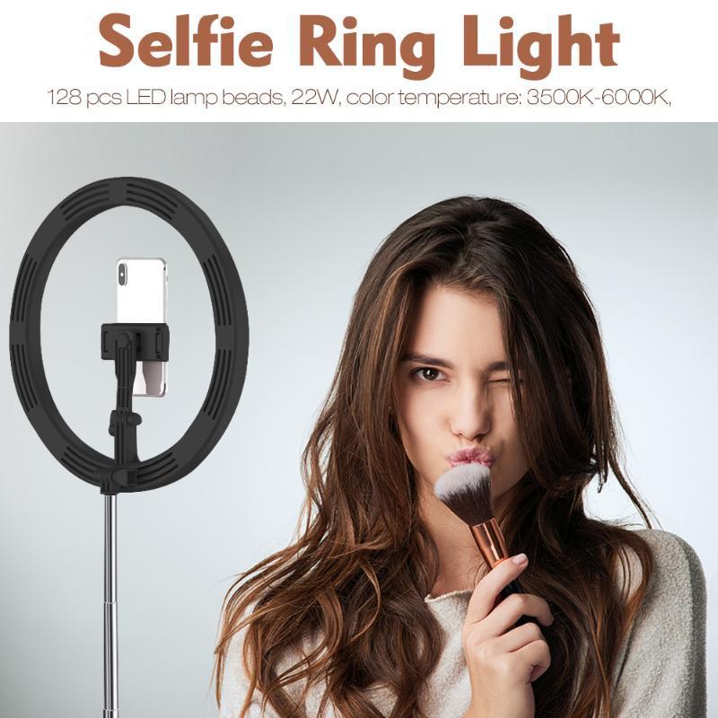 رؤساء فلاش Selfie Ring Light مصباح مع قابل للتعديل أضعاف حامل 3 طرق 128 LED حامل الهاتف ل Vlogs Live Stream YouTube