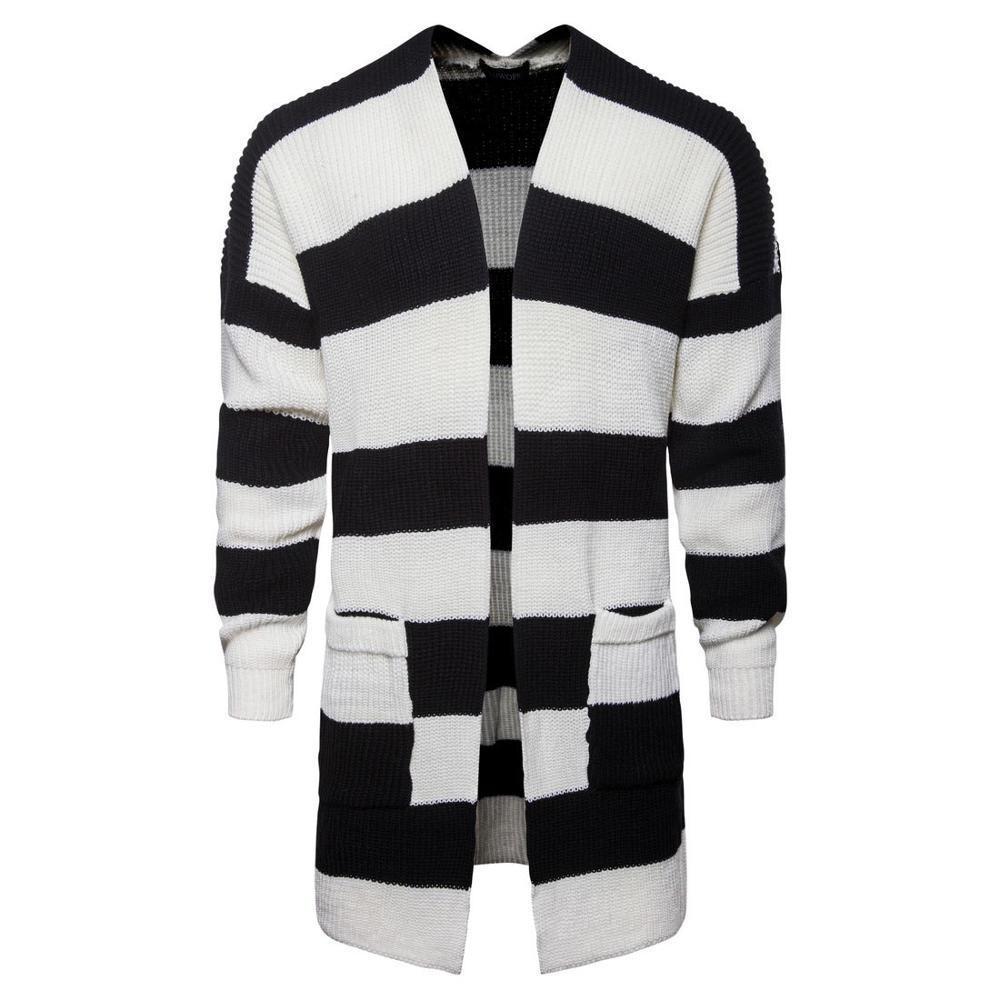 Moda 2020 autunno autunno in stile inverno patchwork uomo color cardigan giacca da uomo lungo maglione a strisce in bianco e nero lungo