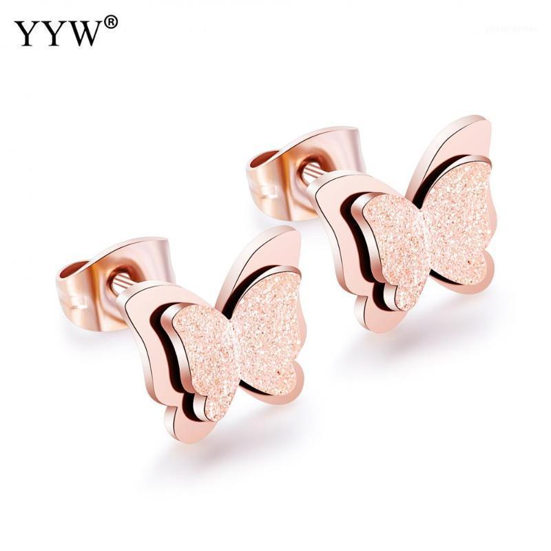 Stud Trendy Damen Edelstahl Ohrringe Schmetterling Muster Europäische Design Reifezeit Damen Moderne Ohr Schmuck Ornamente1