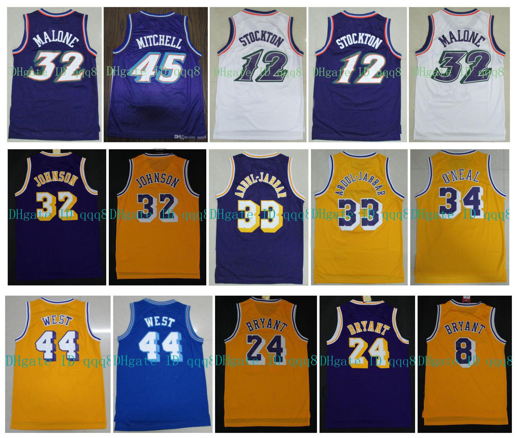 NCAA Basketbol Donovan 45 Mitchell Jersey 32 Magic Johnson Karl 32 Malone John 12 Stockton Jerry 44 West 33 Abdul Jabbar 34 Shaquille Oneal