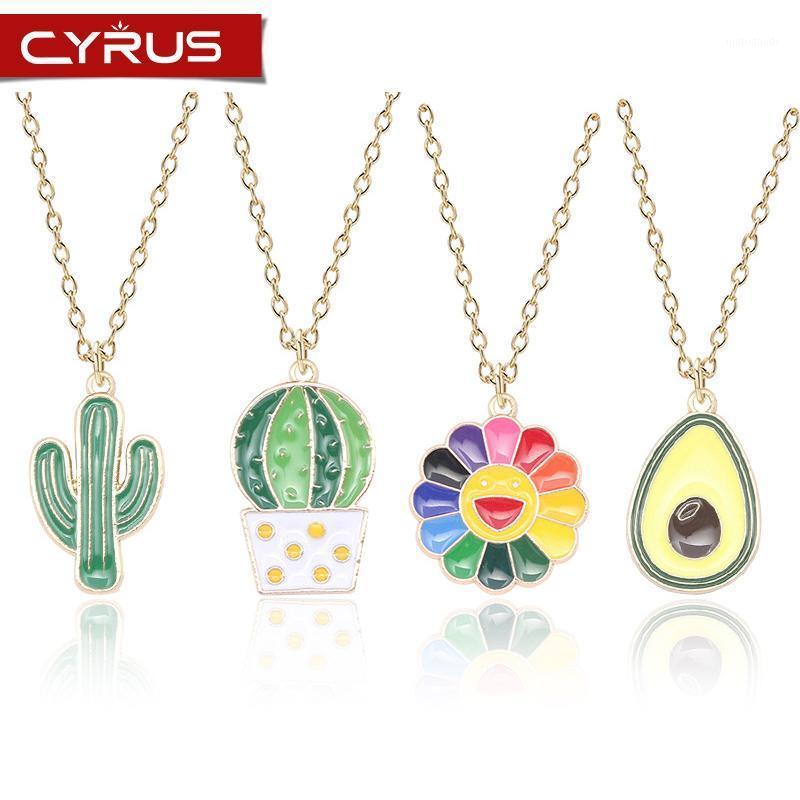 Yeşil Bitki Kolye Kolye Kadınlar Için Sevimli Kaktüs Renkli Ayçiçeği Avokado Kız Kolye Kadın Günlük Jewelry1