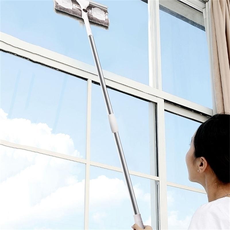 Aço Inoxidável Longa Punho Limpeza Escova de Janela Limpador de Vidro Squeegee Haste telescópica rotativa cabeça com pano de limpeza quente 201214