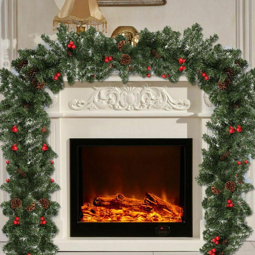 9ft Uzun Noel Garland Süslemeleri Noel Şömine Çam Şerit Süsler ABD