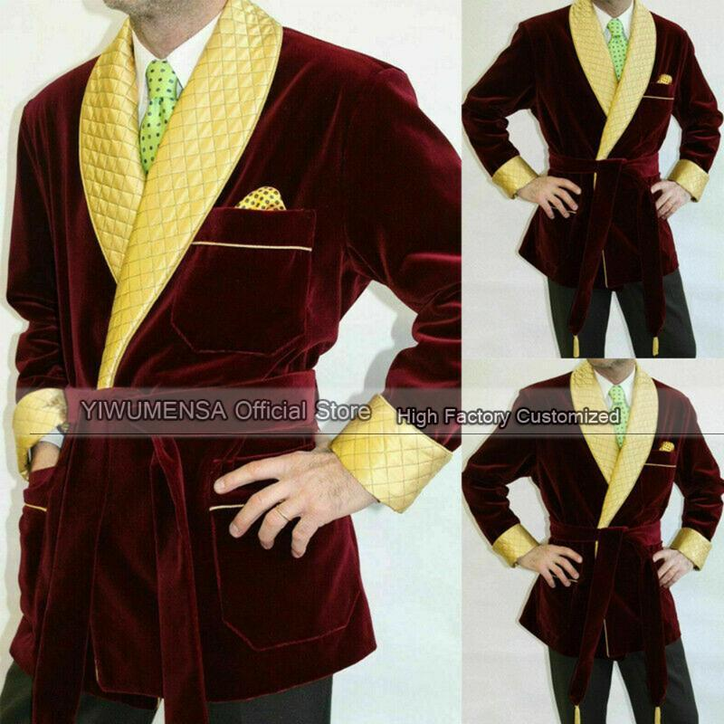 Yiwumensa Ultimo design Cappotto con cintura Giacche da fumo bordeaux Slim fit mens Blazer per cena abiti 2021 Masculino su misura