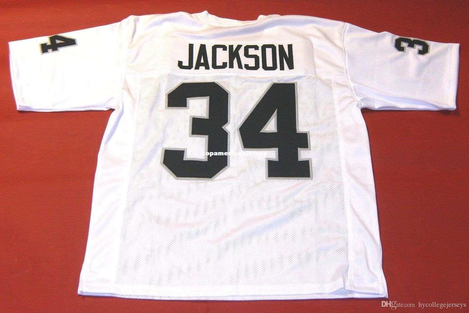 Barato Retro # 34 Bo Jackson Custom Mitchell Ness Jersey Mens de costura de costura Top S-5XL, 6XL Jerseys de futebol