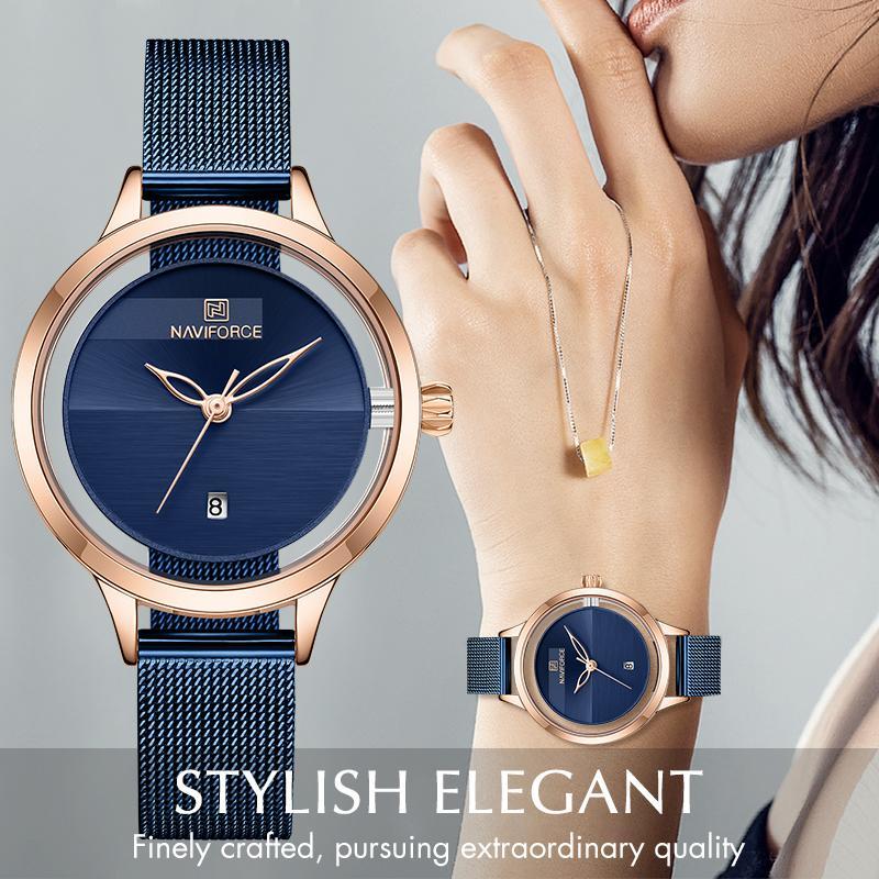 Naviforce Mulheres Assista Top Marca Luxo Senhoras Moda Simples De Aço Inoxidável Quartzo Relógios Femininos Data impermeável Relógio de pulso 201123