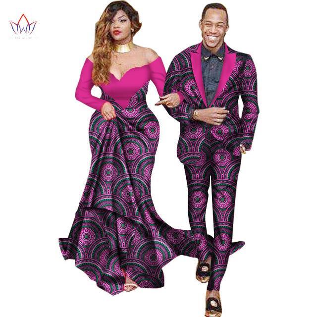 Tatlı Severler Eşleştirme Çiftler Giysi Hediye Sevgililer Günü Uzun Kollu Kadınlar Maxi Elbiseler ve Erkek Ceket Takım Elbise Artı Boyutu WYQ40