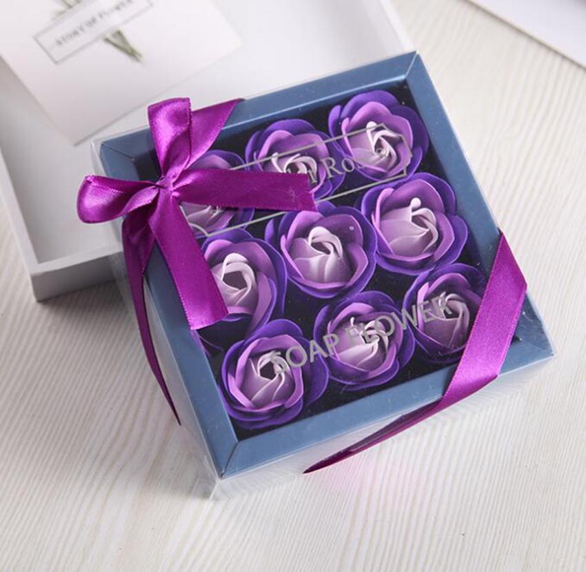 발렌타인 데이 로즈 선물 9 PC 비누 꽃 장미 상자 결혼식 어머니 날 생일 일 인공 비누 장미 꽃 GGE3829-3