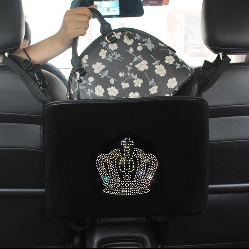 Diamond Crown voiture Sac de rangement suspendu strass Organisateur Auto Barrière de poche du portefeuille BackSeat Titulaire Conteneur de voiture Range Range Lj201118