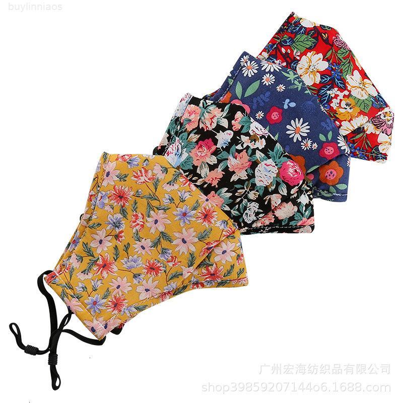 Boca transpirable algodón floral plegable impresión cara 10 unids máscara pm2.5 mujeres lavables a prueba de polvo anti-smog máscaras de fiesta
