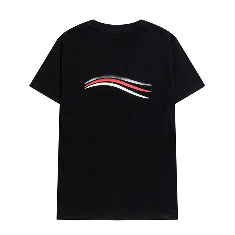 남성 웨이브 인쇄 티셔츠 짧은 소매 캐주얼 티셔츠 라운드 넥 스타일리스트 티즈 남성용 화이트 블랙 streetwear Mens 의류 탑스