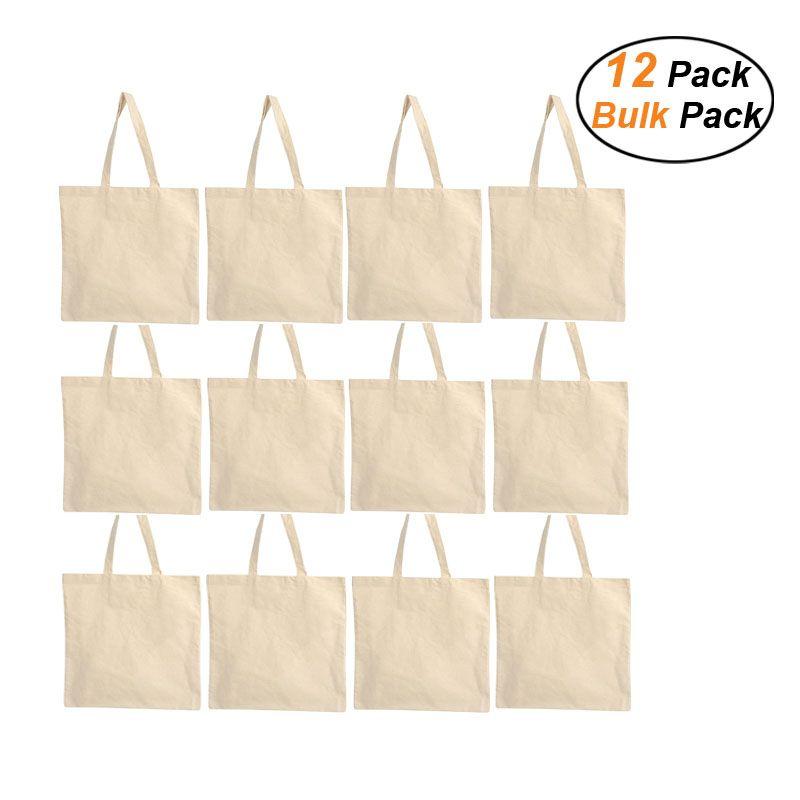 Sacs fourre-tout en toile en gros en vrac - 12 Pack - Sacs de toile de coton réutilisables pour artisanat, shopping, promotions d'entreprise