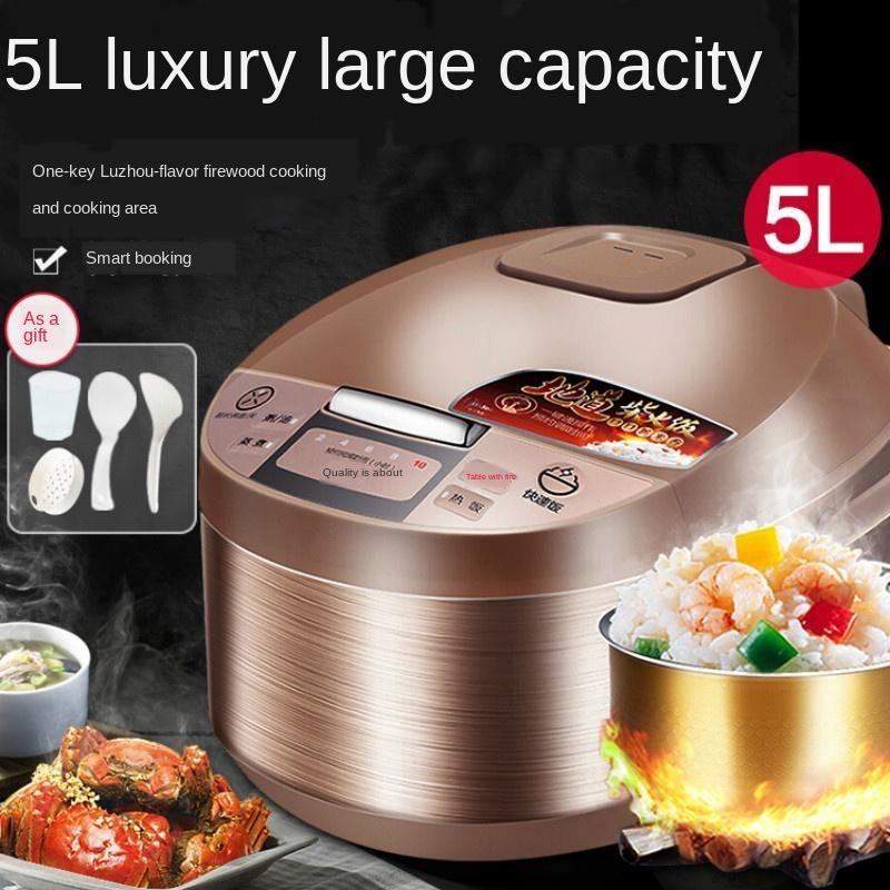 Cuiseur de riz 220V 4L / 5L Cuisson de cuisson de grande capacité ménagère intelligent pour 3-4-6-8 personnes à la maison