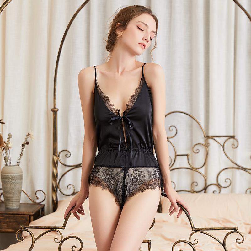 Sexy profundo v pijamas Europeu e americano camisola perspectiva mulheres gaze uma peça lace suspender pijama
