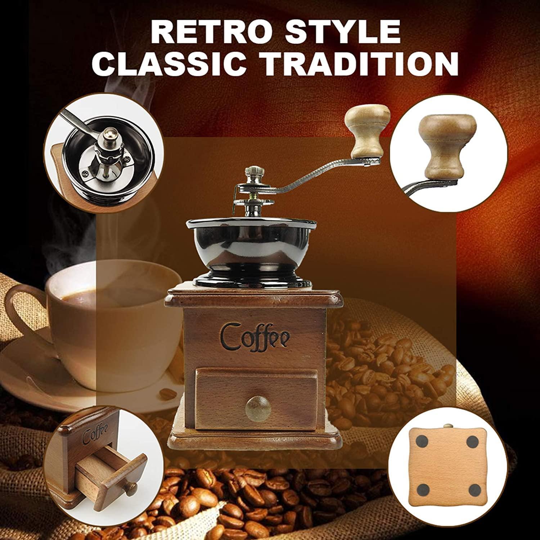 Moedor de café manual vintage portátil manivela de manivela colhereira moedor moedor máquina para casa, escritório e viajar