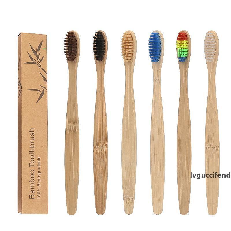 Экологическая бамбуковая уголь зубной щеткой для уборки устного здоровья мягкая щетина красочные головы деревянные ручкой зубная щетка для туристов отеля
