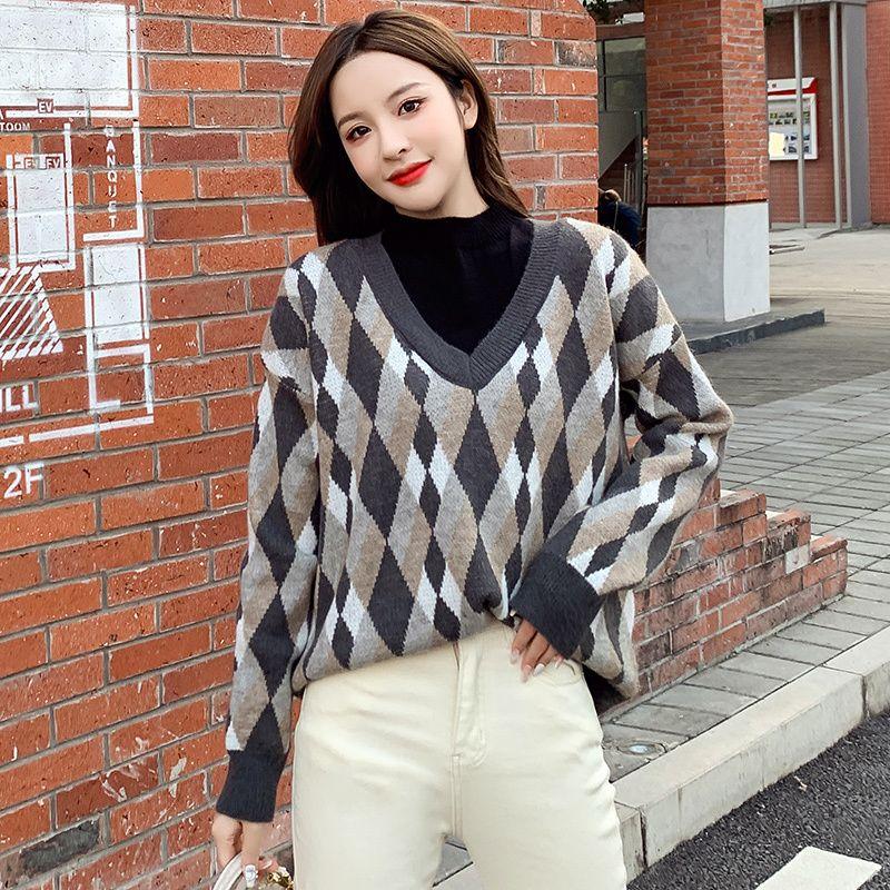 Lose Retro-Stil Pullover Rhombus Check Frauen Herbst Winter Japanischer Mantel Stapeln Up Strick Top Pullover Frauen