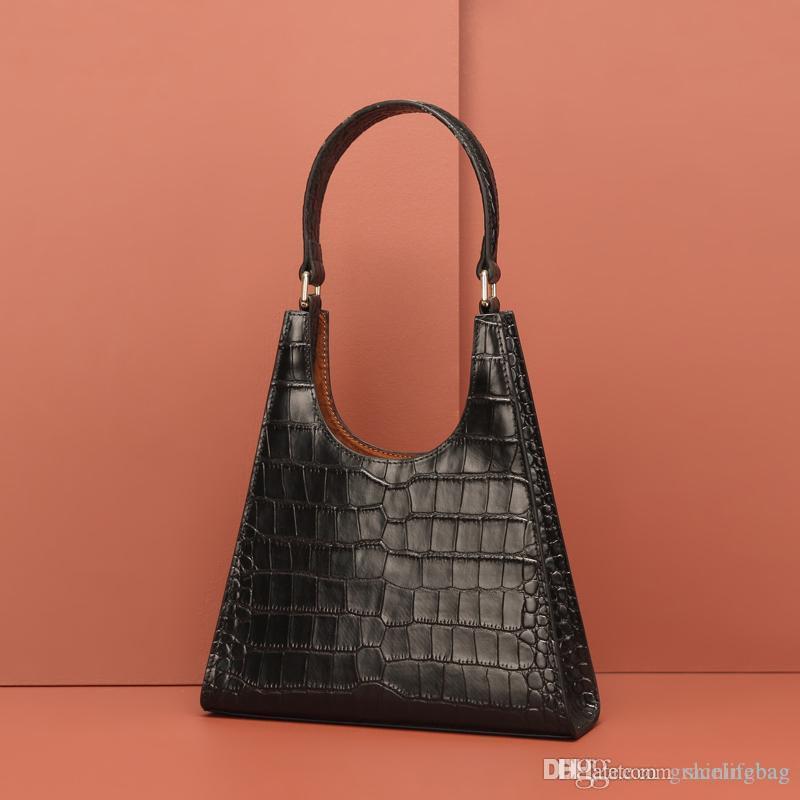 Neue Lederhandtasche Frauen Design Krokodil Muster Retro Armpit Umhängetasche Europa und Amerika Fan Hohe Qualität Mode Schwarz Bag 1096
